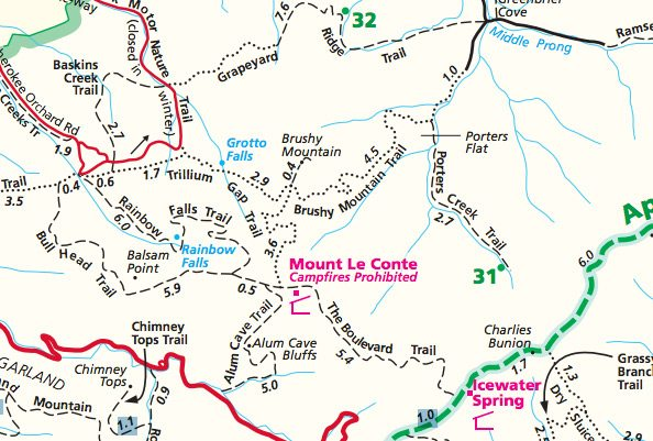 LeConte Lodge® | Hiking Trails Map
